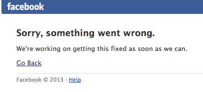 Facebookが落ちてる